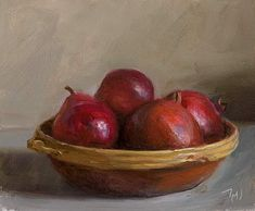 Bowl with pomegranates, apples and pears A Daily painting by Julian Merrow-Smith