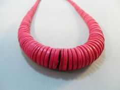 Vintage Necklace / Collar / Choker Fuschia Pink Wood by KathiJanes, $16.95