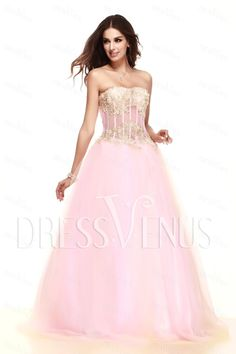 Brilliant A-Line Strapless Floor-Length Taline's Prom/Ball Gown Dress