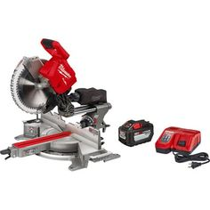 Milwaukee M18 FUELtm 12in. Dual Bevel Sliding Compound Miter Saw with ONE-KEY Kit — One Battery, Model# 2739-21HD Sliding Compound Miter Saw, Compound Mitre Saw, Milwaukee Tools, Milwaukee M18, Saw Tool, Cordless Circular Saw, Cordless Tools, Baseboards, Outdoor Power Equipment