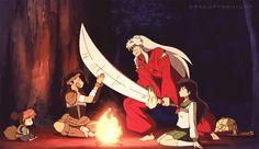 Koga blocking InuYasha's sword sitting around a fire with Kagome and Shippo - InuYasha screenshot Miroku, Kagome Higurashi, Niigata, Manga Anime, Inuyasha And Sesshomaru, Anime Rules, Manga Illustration, Doraemon, Cute Art