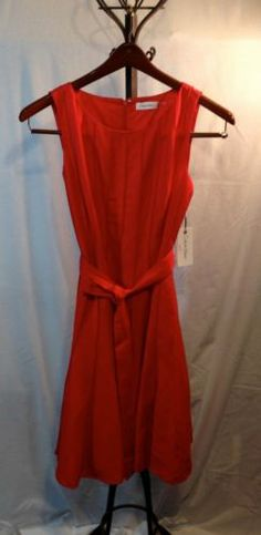 "NWT Classic ""fire red"" CALVIN KLEIN sleeveless linen belted dress with sz 6"
