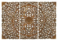 Amazon.com: Benzara Set of 3 Carved Plaques Wall Installation: Prints: Posters & Prints