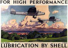 Британские авиационные рекламные плакаты 20-х - 30-х годов Ради обеспечения высоких показателей - моторные масла компании Shell (1935 год)