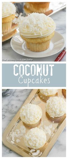 Coconut Cupcakes   Moist and tender coconut cupcakes topped with a delicious mound of cream cheese frosting