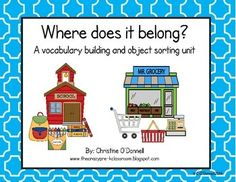 Building vocabulary and sorting skills are important in Early Childhood. This unit is designed to help students identify objects and be able to place them with who/where they belong. Included are 18 different mats, each with 8 objects to match. There are 4 types of recording sheets as well as full instructions.