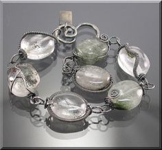 Silver wrapped Lodalite stone Bracelet by MustHaves on Etsy, $79.99