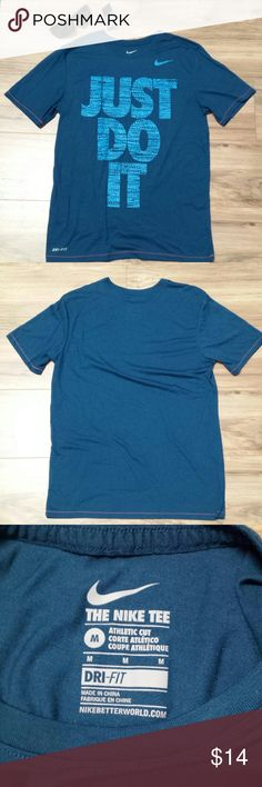 """Nike Dri-fit mens Size M T-shirt Just Do It Blue Good pre-owned condition! Athletic Cut Pit to pit: 19"""" Length (mid shoulder to bottom hem): 27"""" Nike Shirts Tees - Short Sleeve"""