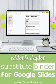 This is the PERFECT digital Google Slides substitute binder for every teacher! You can add your own info to these forms and put them in a teacher binder or sub tub. You can even easily share them digitally with your sub if you have the option! Easily prep ahead of time with editable forms, checklists, and more. This binder will make your sub plans a whole lot easier! Your substitute teacher will thank you for having this substitute binder prepared. #wifeteachermommy