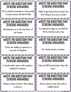 Open Ended Questions for 2nd Grade: Restating the Question | Text ...
