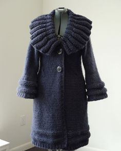 Navy Tailored Knitted Coat by Custom Order by NaDan on Etsy, $350.00