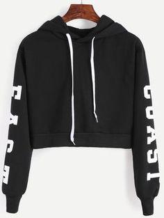 Black Hooded Letters Print Crop Sweatshirt - Sweat Shirt - Ideas of Sweat Shirt - Black Hooded Letters Print Crop Sweatshirt Hoodie Sweatshirts, Diy Sweatshirt, Pullover Hoodie, Sweatshirts Online, Cropped Hoodie, Sweater Hoodie, Hoodies, Cropped Tops, Printed Sweatshirts
