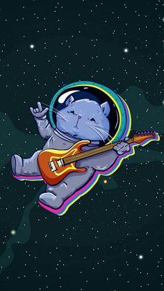 Trippy Wallpaper, Wallpaper Space, Galaxy Wallpaper, Wallpaper Backgrounds, Phone Backgrounds, Space Cat, Astronaut Wallpaper, Cat Background, Space Illustration