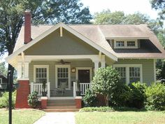 Like this color combination, with sage green as the main color with bright white accents and a dark roof
