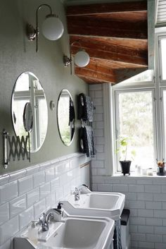 Bathroom Missionshus. www.missionshus.se House Bathroom, Home, Round Mirror Bathroom, House Interior, Bathroom Interior, Bathroom, Bathroom Inspo, Interior Inspo, Bathroom Decor
