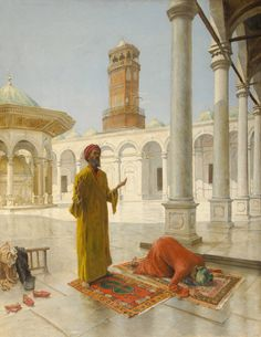Prayer at the Muhammad Ali Mosque Cairo By Alphons Leopold Mielich Austrian 1863 1929 Oil on canvas The Muhammad Ali Mosque is built after the Blue Mosque in Istanbul. Empire Ottoman, Middle Eastern Art, Arabian Art, Islamic Paintings, Old Egypt, Arabian Nights, Egyptian Art, Renoir, Art Plastique