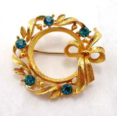 Wreath Gold Rhinestones Christmas Brooch Pin by Sisters3andMe $14.98