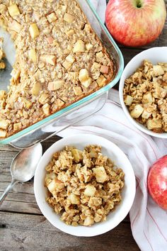 Baked Peanut Butter Apple Oatmeal Recipe on twopeasandtheirpod.com This easy baked oatmeal is a favorite at our house! Make a big pan and reheat during the week!