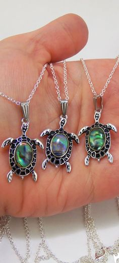 sea turtle necklace with abalone shell back on the turtles, awesome party favors