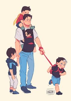 Daddy!Bruce and his batkids.
