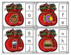 Christmas Clips: Begining Sounds Center Christmas Writing, Christmas Poems, Preschool Christmas, Christmas Activities, Kids Christmas, Christmas Crafts, Happy Birthday Jesus, Alphabet Cards, Kindergarten Activities