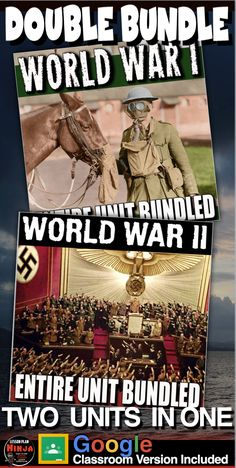 World War I and World War II Units (World History) Bundle, two units in one, covers the atmosphere in Europe leading up the the assassination of Archduke Franz Ferdinand, World War I, World War II and finishes with the Nuremberg Trials and the U.S. occupation of Japan. This unit is a combination ofWorld War I Unit BundledandWorld War II Unit Bundled.   #DistanceLearning#GoogleClassroom#WorldHistoryLessonPlans#LessonPlans#HistoryLessonPlans History Lesson Plans, World History Lessons, Us History, American History, Teaching Social Studies, Teaching History, War Of Attrition, Nuremberg Trials, Map Activities