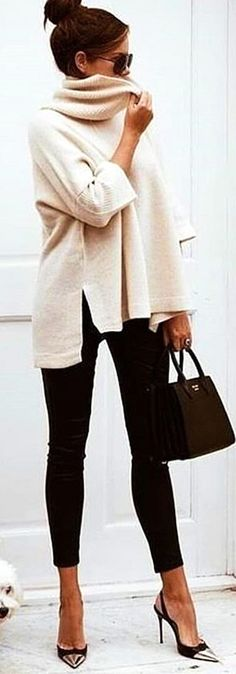 #winter #outfits  white sweater. Pic by @vogue__cafe.