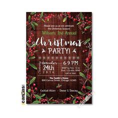 Christmas Invitation, Christmas Party Invitation, Christmas Open House Party, Holiday Party Invites, Mistletoe, Rustic Festive Holiday 07 by 800Canvas on Etsy