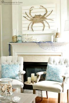 Coastal Summer Home with DIY Driftwood Crab, Rope and Anchor Decor