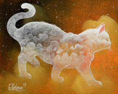 """LIGHT CAT SOUL"" Original painting by Raphaël Vavasseur art Original painting: http://ift.tt/1zrzIvi Fine art prints: http://ift.tt/2mVIsID"