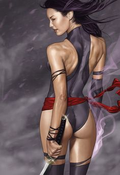 Third in the Femme Fatale series. Made in Photoshop Femme Fatale - Psylocke Comic Book Characters, Marvel Characters, Comic Character, Comic Books Art, Female Characters, Comic Art, Marvel Comics, Heros Comics, Ms Marvel