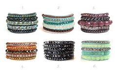Jewelanes Pulseira de couro com pedras semipreciosas www.elo7.com.br/jewelanes