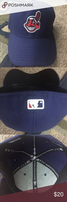Cleveland Indians fitted baseball cap Worn only once or twice. Excellent condition. Not adidas- new era cool base cotton cap. Just in time for the post season- GO TRIBE! adidas Other