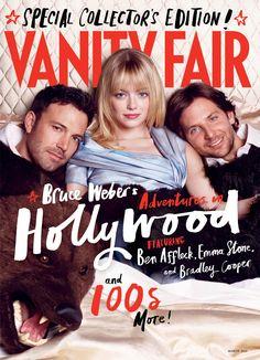 Emma Stone Poses Between Ben Affleck and Bradley Cooper in Vanity Fair. Oh that Ben he is yummy