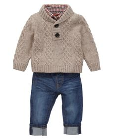 Diy Crafts - Mothercare Check Shirt, Cable Knit Jumper and Jean Set - sets & outfits - Mothercare Fashion Kids, Little Boy Fashion, Baby Boy Fashion, Baby Boy Knitting Patterns, Baby Knitting, Baby Boy Outfits, Kids Outfits, Outfits Winter, Gilet Crochet