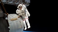 Astronaut Jeffrey Williams during a six-hour spacewalk outside the International Space Station
