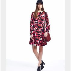 """Kate Spade - Falling Florals Crepe Dress Just like new...only worn 2x. Features: A-line. Size 4 measures 37"""" long from highest shoulder point. Exposed back zipper. 100% polyester. Long sleeves. Collar stand. Style #njmu5451. kate spade Dresses"""