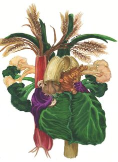 """CABG. Unless you are a cardiac surgeon, when someone says """"cabbage,"""" you think greens, right? This heart represents something in between--it's a heart and a cabbage. Find the garlic, rhubarb, mushrooms, red cabbage, green cabbage, green onions, rigatoni, ginger root, broccoli, cauliflower, and wheat."""
