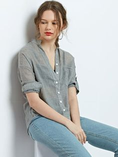 Gray,Stand Collar,Pocket,Button,Roll Up Sleeve,Shirt,Blouse,Top,Basic