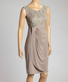 Look what I found on #zulily! Mocha Lace Side-Swept Sleeveless Dress - Women by R&M Richards #zulilyfinds