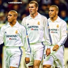 Zidane, Ronaldo, and Roberto Carlos Real Madrid soccer a beautiful game brasilcopamundotowel.com