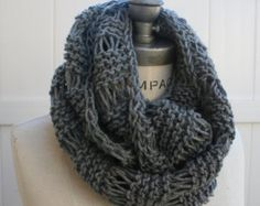 Grey Knit Scarf  Best selling item Knit Infintiy Scarf   Most Popular Items Winter Neck warmer - By PIYOYO