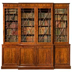 Antique Regency Breakfront Bookcase | From a unique collection of antique and modern bookcases at https://www.1stdibs.com/furniture/storage-case-pieces/bookcases/