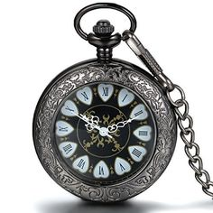 JewelryWe Mechanical Pocket Watch Roman Number Half Hunter Antiqued Black Case Fob Watch with Chain Belt ** More info could be found at the image url.(This is an Amazon affiliate link and I receive a commission for the sales)