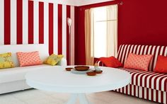 minimalist-living-room-design-ideas-with-red-and-white-stripes-wall-color-decorating-and-white-sofa
