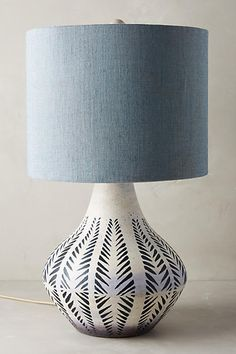 Anthropologie Handpainted Earthenware Lamp Ensemble