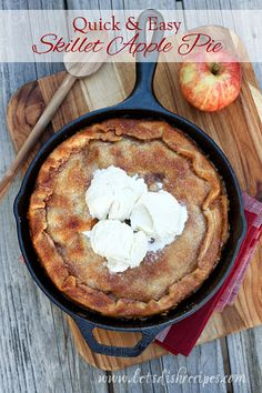 """Have you ever been in a pinch and needed an impressive, """"tastes-like-homemade"""", dessert in a hurry? This Quick & Easy Skillet Apple Pie is the answer. You start with an entire stick of butter, ..."""