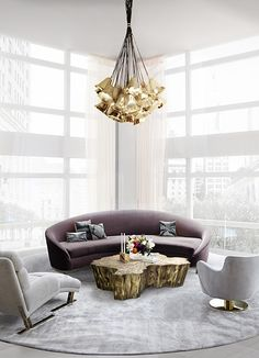 Living Room Ideas | VAMP Sofa and GIA Chandelier from Koket, EDEN Center Table from Boca do Lobo | See more: https://www.brabbu.com/en/all-products.php