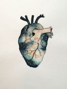 saintcarlito: I Heart Space painted with watercolor and ink. Anatomical Heart Drawing, Human Heart Drawing, Watercolor And Ink, Watercolor Paintings, Space Watercolor, Space Painting, Anatomy Art, Heart Art, Art Plastique