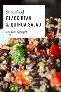 This quinoa salad with black beans is the perfect dish to bring to a summer party. Impress your guests with this superfood salad!. #ElizabethRider Quinoa Salad Recipes, Healthy Salad Recipes, Vegan Recipes Easy, Real Food Recipes, Avocado Recipes, Healthy Eats, Black Bean Quinoa, Quinoa Rice, Quick Meals To Make